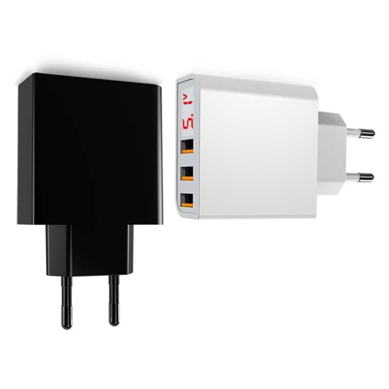 GUSGU 3 Порты и разъёмы светодио дный Дисплей USB телефон Зарядное устройство ЕС Plug Max 3.4A Smart быстрой зарядки зарядное устройство для мобильных устройств для iPhone iPad samsung