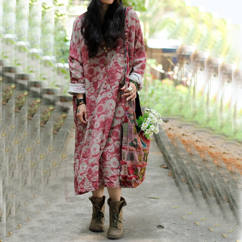 Women 2016 Autumn Long sleeved Vintage Floral Print Cotton Linen Loose Dress Retro Loose Robes Dress