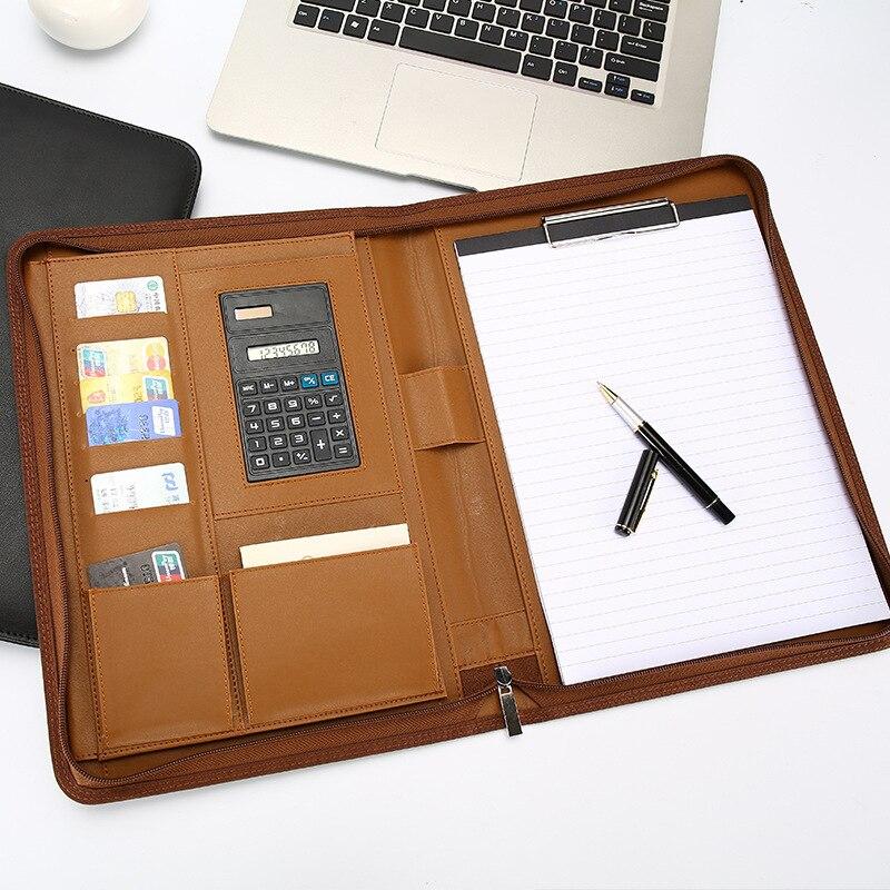 34x25cm A4 affaires d'affaires bloc-notes à feuilles mobiles peut augmenter LOGO plus de fonction apporter calculatrice gestionnaire mélange fermeture éclair paquet noir