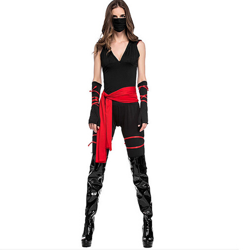 black martial ninja halloween costumes for women two piece set clothing punk cosplay suit sporting tracksuit outfit 815 in womens sets from womens