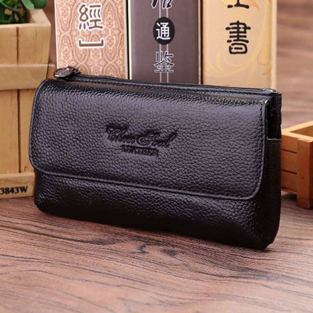 New Genuine Leather Business Waist Bag First Layer Cowhide Men Hip Bum Fanny Hook Pack Loop Skin Belt Case Mobile Cell Phone Bag
