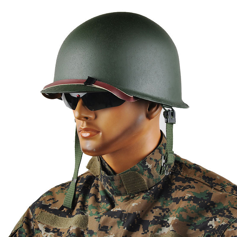 labor protection safety helmet Repro Men's WW2 US Army M1 Helmet Stainless Steel Army Green with Camouflage Net FC