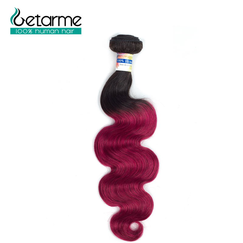 Ombre Brazilian Body Wave Dark Roots 3 Bundles 100% Human Hair Extensions Pre-Colored 1b/burg Getarme Non Remy hair