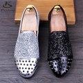 Микрофибра обувь США размер 8.5 дизайнер заклепки мужчины плоские туфли ручной серебро черный 2017 весна оксфорд обувь для мужчин внутренний высота