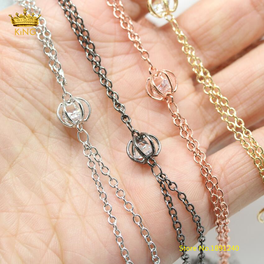 5meters lot,6x8mm Clear Zircon Chains Findings,Hollow Round Double Chains,Rosary Chain Plated Copper Wire Wrapped CZ Beads HX162