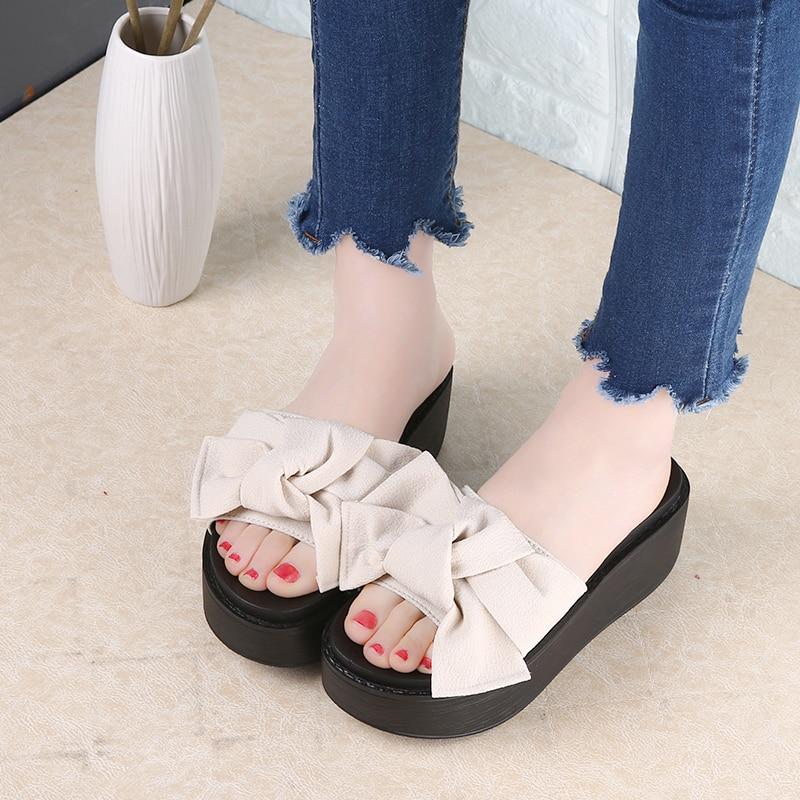 491689ed5 ... SHIDIWEIKE Big Bowtie Woman Beach Flip Flops Summer Sandals Slip- Resistant  Slippers Platform Sandals Size ...