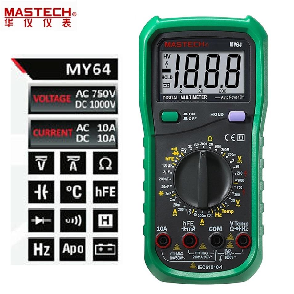 все цены на Free Shipping MASTECH MY64 Digital Multimeter AC / DC voltage and current resistance tester detector diode онлайн