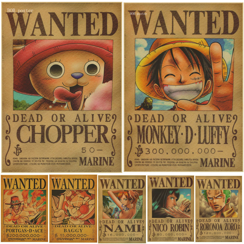 1 pcs home decor wall stickers vintage paper anime poster one piece posters luffy wanted in wall - One piece wanted luffy ...