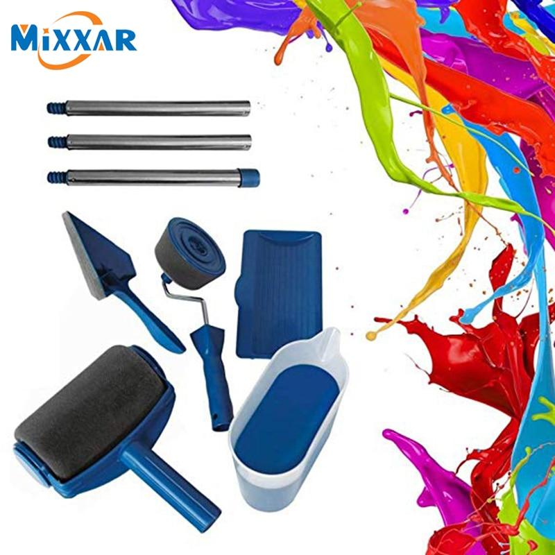 ZK30 Dropshipping Multifunction DIY Paint Roller Brush Handle Tool Flocked Edger Home Office Room Wall Runner Roller Paint Brush