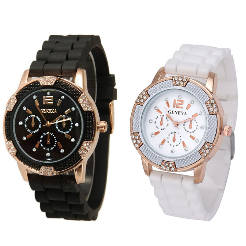 2018 Hot Sale New Women's White Rose Gold Chronograph Silicone with Crystal Rhinestones watch Drop Shipping Fashion 2 Color B5