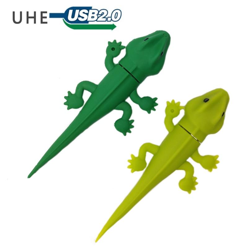 USB flash drive pendrive 4GB 8GB 16GB 32GB 64GB cartoon gecko memory stick cute lizard/chameleon usb stick lovely gift pen drive