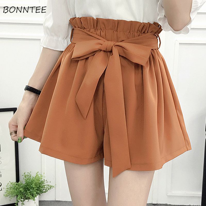 Shorts Women Korean Style Casual Chic Simple High Quality Womens All-match Loose Elastic Waist Solid Sashes Elegant Clothing