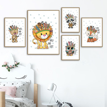 Lion Bear Owl Fox Feather Wall Art Canvas Painting Nordic Posters And Prints Animals Pictures Boy Girl Baby Kids Room Decor