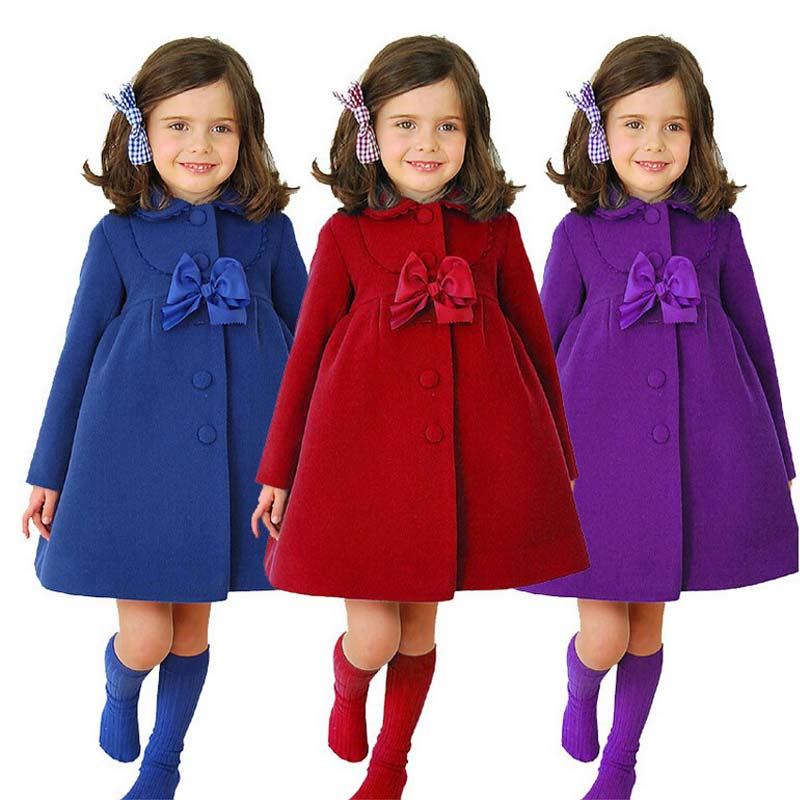 BOTEZAI New Fashion Chidren Winter Warm Outwear Baby Girls Korean Bow Long Sleeve Coat Kids Clothing(3-8 years old)