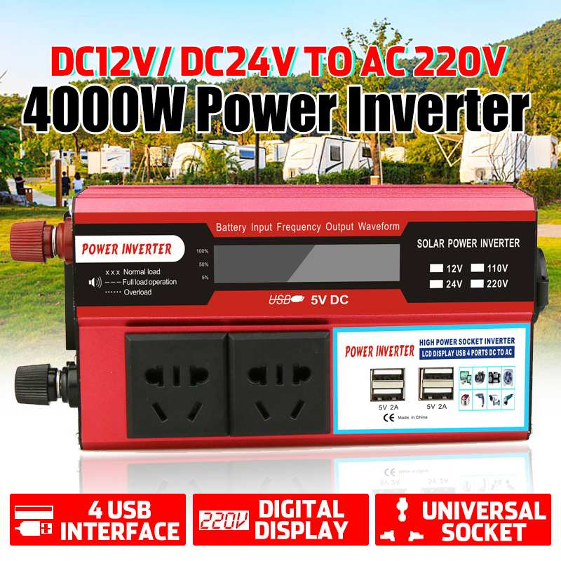 4000W Watt 4 USB LCD Display DC 12/24V To AC 220V Portable Car Power Inverter Charger Converter Adapter Modified Sine Wave