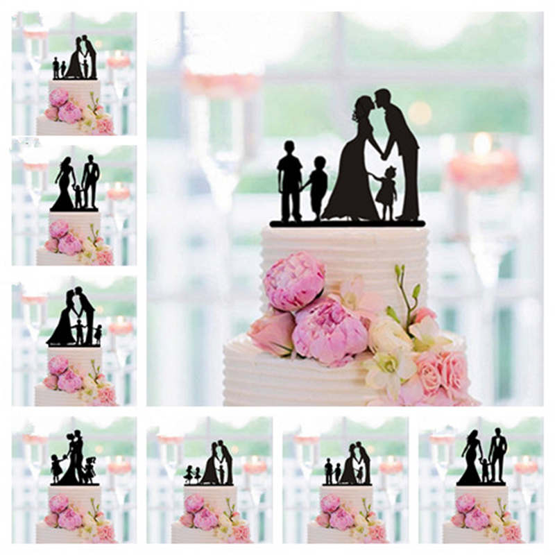 New Family Style Cake Topper Family Silhouette Wedding Cake Topper Bride and Groom Couple Topper Wedding , Anniversary Decor
