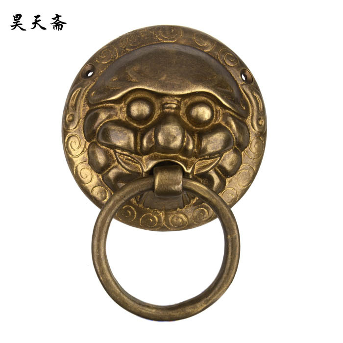 [Haotian vegetarian] Chinese antique door knocker lion head copper handle the Ming and Qing furniture accessories HTA-068 tri-co [haotian vegetarian] chinese antique ming and qing furniture handle copper door handle copper with htc 163 classical handle