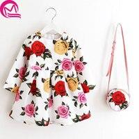 Uzun Kollu Elbise Kız Noel Elbise 2016 Sonbahar Kış Çiçek Baskı Toddler Kız Elbise Çocuk Giyim Çocuk Elbise ile Çanta