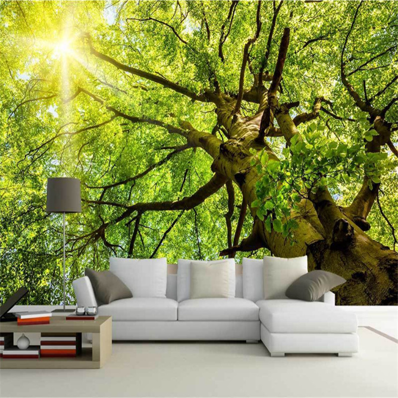 custom modern 3 photo high quality non-woven mural wallpaper sunlight forest green shade road 3d landscape sofa background wall custom 3d wallpapers mural non woven fabric 3d room wallpaper forest road 3 d space background wall photo 3d wall home decor