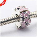 2016 Spring new Beads Fit for Pandora Bracelet 925 Sterling Silver Pink Primrose Clip Charms DIY Fine Jewelry CL12012