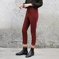 Women's Fashion Ankle Length Red Harem Pants Novelty Slit Pants Spring Ladies Suits Pants Casual Pencil Pants High Waist
