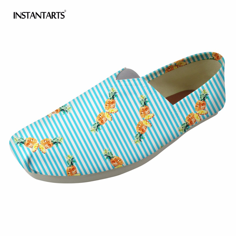 INSTANTARTS Blue Striped Casual Canvas Flats Shoes Women Spring Fruit Pineapple Pattern Student Slip-up Lazy Shoes Loafers Flats