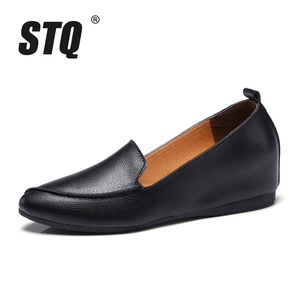Image 2 - STQ 2020 Autumn Women Ballerina Flats Shoes Women Genuine Leather Shoes Slip On Loafers Women High Increase Heel Shoes 1188