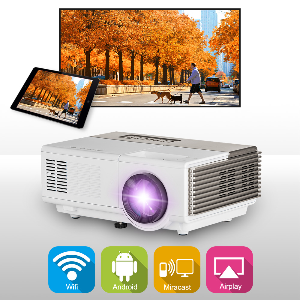 CAIWEI Portable Mini LED Home Theater Projector Digital Android WiFi Airplay Video Games TV  HDMI VGA USD AV Support 1080P