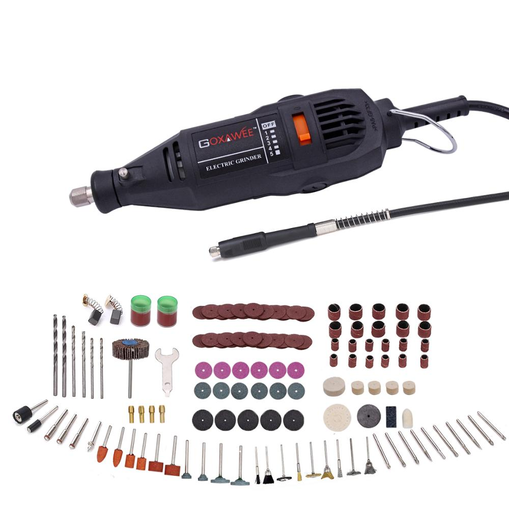 GOXAWEE 110V/220V Electric Mini Drill For Dremel Rotary Power Tools With 5 Variable Speeds Mini Engraver Grinder Polisher
