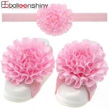 BalleenShiny 3 шт./компл. повязка босиком сандалии для новорожденных модная одежда для девочек с цветочным узором Красивая эластичная повязка для волос с украшения для ног