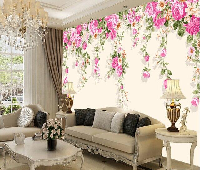 Acquista personalizzato fiori carta da for Parati tridimensionali