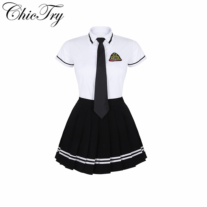 New Arrival Female Women School Girls Uniform Suit Fancy Party Cosplay Costume Short Sleeve T-shirt Top with Black Pleated Skirt