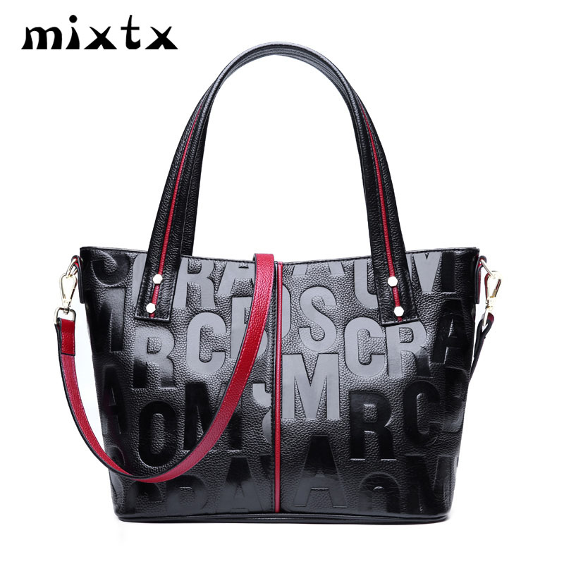 mixtx 2019 Women First Layer Cowhide Handbag Letter Imprint Crossbody High Quality Tote Genuine Leather Female Shoulder Bagmixtx 2019 Women First Layer Cowhide Handbag Letter Imprint Crossbody High Quality Tote Genuine Leather Female Shoulder Bag