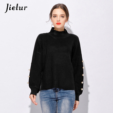 Jielur Fashion Loose Batwing Sleeve Oversized Sweater for Women Fall Winter Turtleneck Beads Knitted Sweater Black Gray Pullover