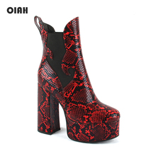 2019 New Women Ankle Boots Platform PU Leather Boot Red Snake Skin Ladies Shoes Heeled Autumn Winter Woman High Heel