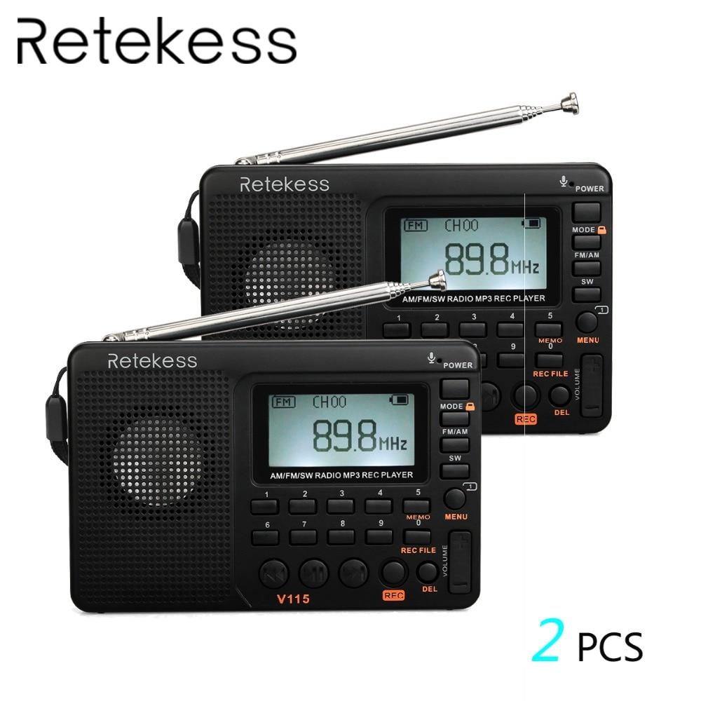 2pcs RETEKESS V115 FM AM SW Radio Multiband Radio Receiver Bass Sound MP3 Player Recorder Portable