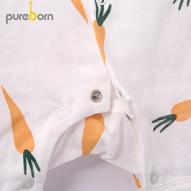 Pureborn Baby Girls Summer Clothes Baby Rompers Clothing Newborns Printed Cartoon Short Sleeve Cotton Boys Overalls Costume
