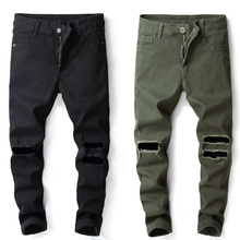 цены на 2019 Fashion Men Jeans Casual Pants Hip Hop Punk Style Ripped Jeans Trousers Slim Fit Elastic Brand Jeans Men Streetwear Pants  в интернет-магазинах