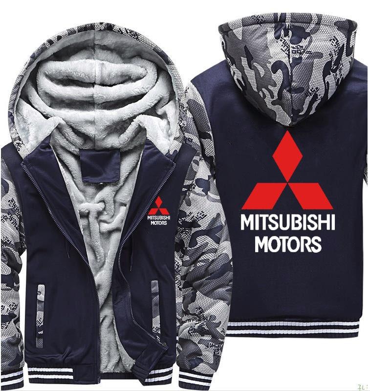 Hoodies Men Mitsubishi Car Logo Print Jacket Men Hoodies Winter Thicken Warm Fleece Cotton Zipper Camouflage Raglan Mens Coat