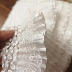 Image 3 - Fita de bordado com elástico de 7cm, laço branco de largura, com babado, costura, saia, roupas de costura, aplique, decoração guipure