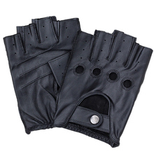 Factory Direct Genuine Leather Half-Finger Gloves Driving Male Spring And Autumn Sheepskin Gloves Tactical Non-Slip Gloves F124 olson deepak half pigskin and half canvas transport factory driving gardening barbecue protective work gloves hy031free shipping