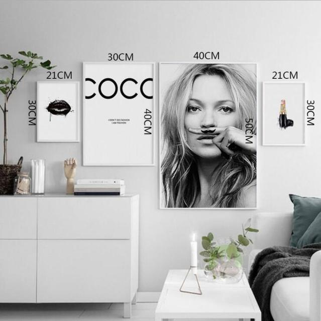 Style Character Supermodel Kate Moss Sexy lips life is a joke For Lijst Canvas Art Prints Wall Posters Home Decor