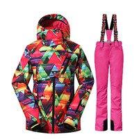 GSOU NEVE do Inverno-35 Graus Mulheres Snowboard Terno de Esqui Feminino ternos jaqueta + Calças de Esqui Ao Ar Livre À Prova D' Água 10 K Super Quente esporte