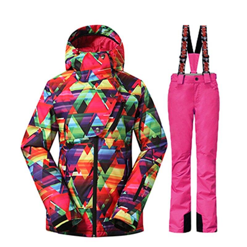 GSOU SNOW Winter 35 Degree Women Ski Suit Female Snowboarding Suits Waterproof 10K Super Warm Ski