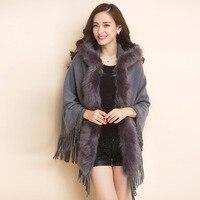 Idopy Womens Fashion Winter Fleece Capes Female Elegant Tassel Faux Fur Shawl Coat Solid Sleeveless Cardigan Ponchos For Women