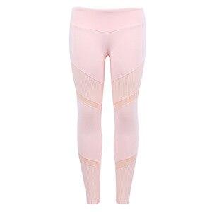 Image 3 - SVOKOR Fitness Pink Leggings Women Spring Ankle Length Softe Mesh Legging Stitching Hollow Slim Push Up Ladys Legging