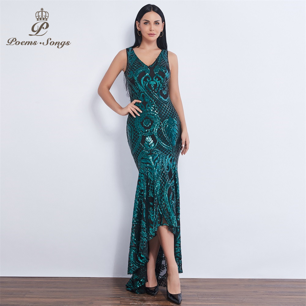 Poems songs sexy Elegant Evening dress formal party dress Sequin beautiful impressive Evening gown pretty Asymmetry dress image