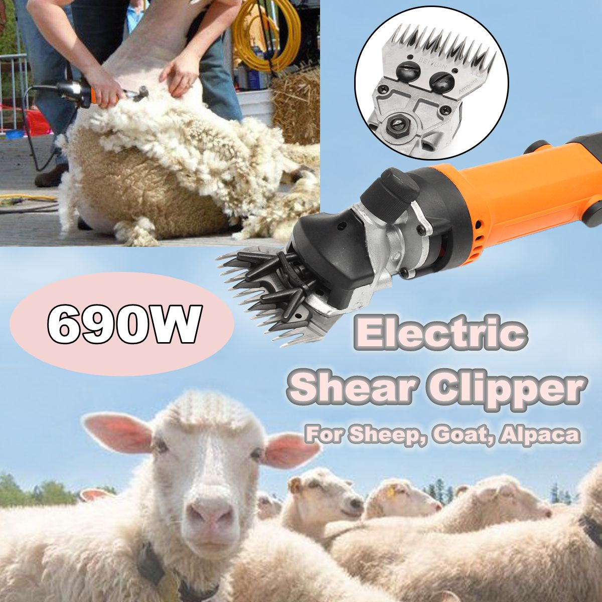 690W Electric Shearing Supplies Clipper 13 teeth Blade Scissors Shear Sheep Goats Alpaca Hair Trimmer Shears Machines Tool new 680w sheep wool clipper electric sheep goats shearing clipper shears 1 set 13 straight tooth blade comb