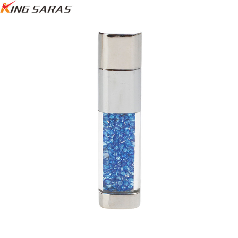 King Saras New Usb Flash Drive  Crystal Pen 4GB 8GB 16GB 32GB Metal USB 2.0 Pendrive 64GB 128GB For Gift Free Custom Logo