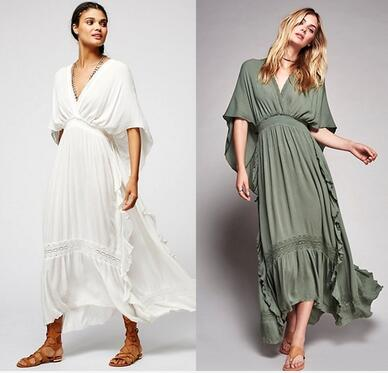 US $35.74 49% OFF|Plus size UK 2019 Summer Autumn Ladies Batwing sleeve  Embroidery Hippie Boho People Backless Long dress Female Bohemian  Vestido-in ...